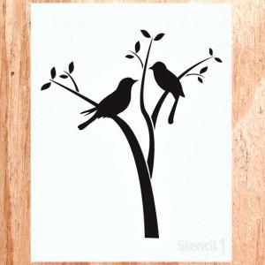 Bird On Branch Stencil Birds in branches stencil