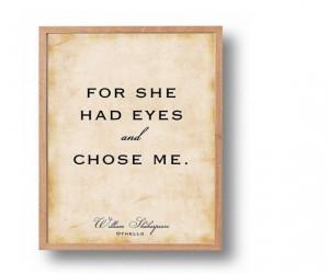 Othello Love Quote Print, Shakespeare Literary Wall Art, Wedding Print ...