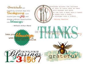 Gratitude Quotes and Word Art for Your Thanksgiving Scrapbook Layouts
