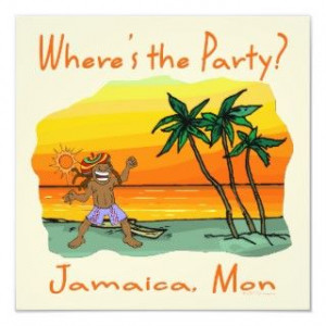 This funny design features a Jamaican party man on the beach. Great