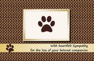 Printable Pet Sympathy Card-Dog-Cat-Brown-Folded-Paw prints-Instant ...