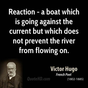 Reaction - a boat which is going against the current but which does ...