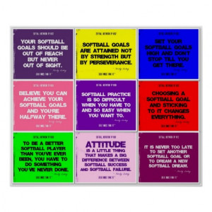 Softball 9 Color Quote Collage Print
