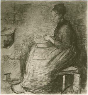 Vincent van Gogh Woman, Sitting by the Fire, Peeling Potatoes Drawing