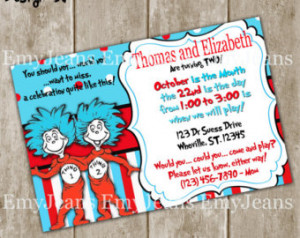 Thing 1 and Thing 2 Birthday Invitation-Dr Suess Party Invites,Twins ...