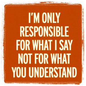 only responsible for what I say not for what you understand