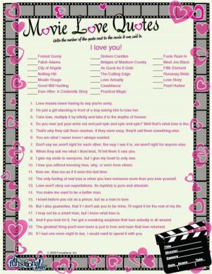 Movie Love Quotes Game
