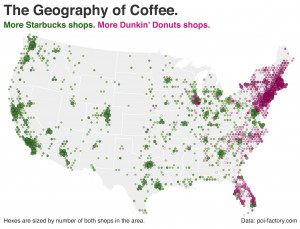 This Map Shows Where Starbucks And Dunkin' Donuts Dominate