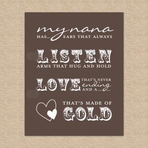 Nana Quote // My Nana has ears that always listen by PaperRamma