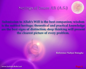 Submission to Allah's Will is the best companion; wisdom is