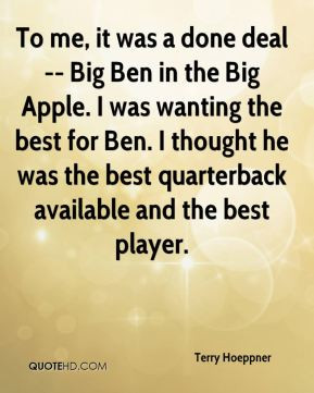 done deal -- Big Ben in the Big Apple. I was wanting the best for Ben ...