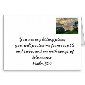 Safety in God's arms. Christian bible verse card