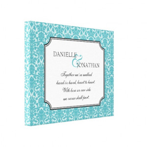 Blue damask wedding quote personalized canvas art canvas prints