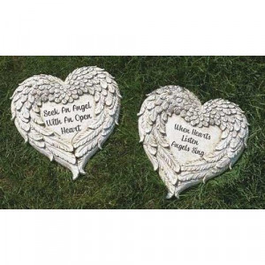 Set of 2 Heart Shaped Angel Wings with Religious Quote Outdoor Patio ...