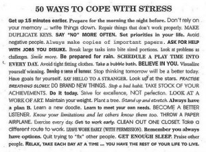 50 ways to cope with stress. Really diverse suggestions and ideas. And ...