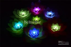 water wishing light 7 Colors Changing Lotus LED Light Christmas supply ...