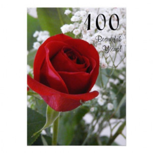 100th Birthday Celebration-Red Rose Announcement from Zazzle.com