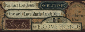 ... primitive welcome signs wallpaper border this charming wallpaper will