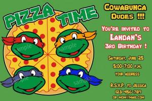 Teenage Mutant Ninja Turtles Birthday Invitation, Ninja Turtles ...