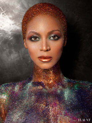 Beyonce Naked in Glitter & Paint For Flaunt Magazine Cover