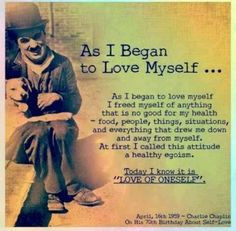 Charlie Chaplin quote on loving yourself