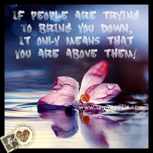 ... if people try to bring you down it only means that you are above them