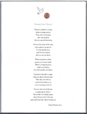 pennies from heaven | Keepsake Adult Remembrance 8 x 10 Poem: Pennies ...