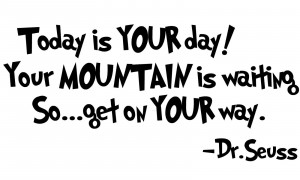 DR. SEUSS Quote Today is YOUR day... Removable Vinyl wall art decal ...