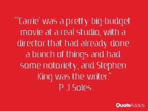 Carrie' was a pretty big-budget movie at a real studio, with a ...