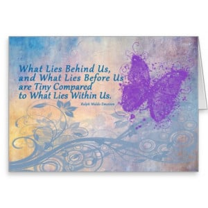 Butterfly encouragement card emerson quote