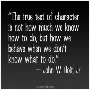 The true test of character'