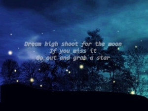 dream, high, inspiration, moon, quote, quotes, shoot, star