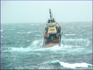 Fishing Boat in Rough Seas