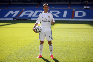 Real Madrid's new player Javier Hernandez poses for the media at ...