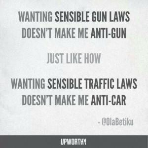 Wanting sensible gun laws doesn't make me anti-gun just like how ...