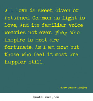 Percy Bysshe Shelley picture quotes - All love is sweet, given or ...