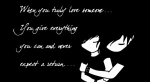 Love quote with a couple in black bachground