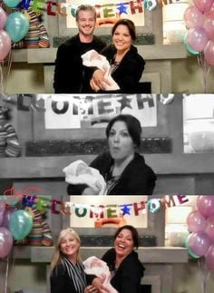 Mark Sloan, Calliope Torres, Arizona Robbins, and baby Sophia Robbins ...