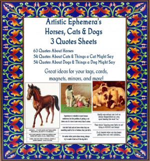 QS19-21 Wonderful Horse Quotes and Funny Sayings About Dogs and Cats ...