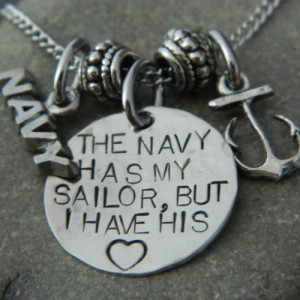 Anchor Necklace The Navy Has My Sailor But I have his Heart