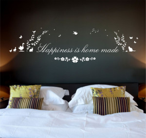 Happiness is Home Made Quote, Nature Vinyl Wall Art Sticker Decal ...