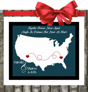 Distance Friendship: Quotes Map. Relationship Gift For Best Friend ...