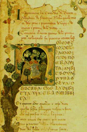 ... of 14th-century manuscript of Dante's Commedy (MS Trivulziano 1080
