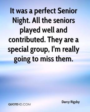 It was a perfect Senior Night. All the seniors played well and ...