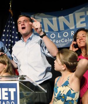 Sen. Michael Bennet, celebrates after winning the Democratic primary ...