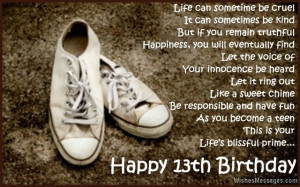 13th Birthday Wishes for Son or Daughter