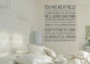 Romantic movie quotes vinyl wall decal