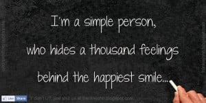 ... Hides A Thousand Feelings Behind The Happiest Smile - Feeling Quote