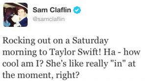 Sam Claflin, Taylor Swift Tweet