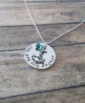 Anchor Charm Necklace - You are my Anchor quote - Hand stamped jewelry ...